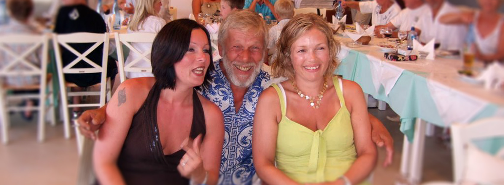 Svein with his two daughters in Nidri. Svein and Caryn's 60 years birthsday party