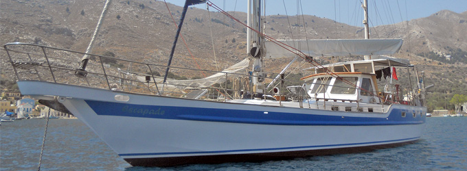 At anchor in Pedi bay on Symi Island